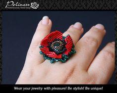 Jewelry Rings Handmade Beaded ring Flower от PolinessJewelry