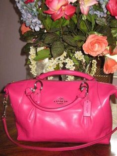 AUTHENTIC AND NEW COACH COLETTE LEATHER SATCHEL HANDBAG Hot Pink BAG NWT $428.00 #Coach #Satchel