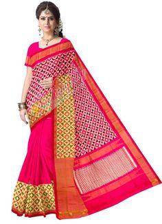 ikat patli mixed red color saree