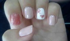 My nails. Ring finger with my boyfriends name letter.