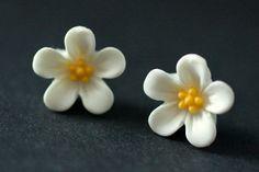 New to StumblingOnSainthood on Etsy: White Flower Earrings. White Forget Me Not Flower Earrings with Bronze Stud Earrings. White Earrings. Flower Jewelry. Handmade Jewelry. (9.00 USD)