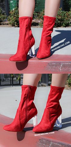 Online shopping for Faux Suede Crystal Heel Booties RED from a great  selection of women s fashion clothing   more at MakeMeChic. 06552d5de47d