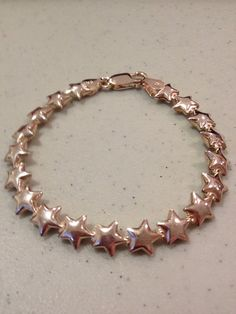 """ITALIAN Sterling Star Bracelet 7 GRAMS Silver Vintage New Italy 7"""" 60s Jewelry Modern Boho Celestial Gift Bridal Stamped Signed Sparkly on Etsy, $43.00"""