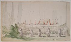 Paul Kane's 1847 illustration of King Concomly's burial canoe Astoria, Oregon and parts of Washington State Chinook indians Native Americans