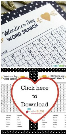 Valentine's Day Word Search Activity   Free printable Valentine ideas for home or the classroom. Great for Valentine Parties! Click the photo to find your free download. TodaysCreativeLife.com