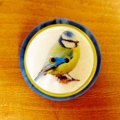 Bluetit brooch pin, Mother's Day gifts for gardening Mums, bird jewellery gifts, upcycled button brooch, handmade jewellery UK by FrankieAndTheButtons on Etsy £10 +pp