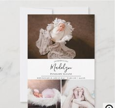 Modern 4 Photo Personalized Baby Birth Announcement The front of the birth announcement card comes with a top horizontal photo, followed by a text field where you can customize the baby's names and birth stats, followed by two horizontal photos. The back is a vertical photo and a family welcomed by text. Baby Girl Birth Announcement, Birth Announcement Photos, Announcement Cards, Birth Announcements, Baby Birth, Baby Girl Newborn, Baby Girl Photos, Artwork Design, Personalized Baby
