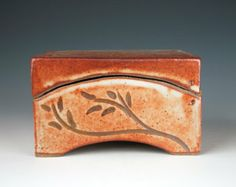 Ceramic box, orange, grey-white, slab built, carved, stoneware, curved lid, medium size