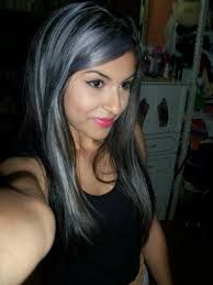 Resultado de imagen para dark brown hair with silver highlights