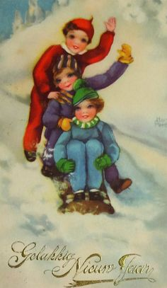 1937 Hannes Petersen Happy New Year Postcard, Dutch Gelukkig Nieuw Jaar, Children on Sled, Antique Vintage Artist-Signed Ephemera by OakwoodView
