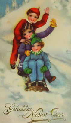 1937 Hannes Petersen Happy New Year Postcard, Dutch Gelukkig Nieuw Jaar, Children on Sled, Antique Vintage Artist-Signed Ephemera by OakwoodView