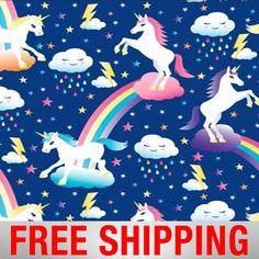 "Fleece Fabric Unicorn Rainbow Anti Pill Style BB 4328 60"" Wide Free Shipping"