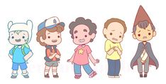 gravity falls and steven universe and over the garden wall and adventure time and rick and morty - Google Search