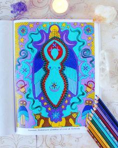 Inanna Goddess coloring page from the Goddess mandala coloring book.