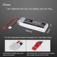 9.99$  Watch more here  - JHpower 7.4V 2200mAh 25C 2S Li-Po Battery with JST Plug for RC Drone Airplane Car Truck