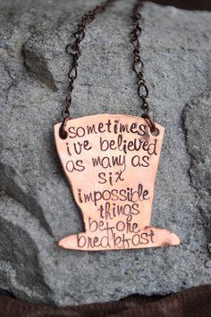 Alice In Wonderland Quote Necklace