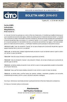 BOLETÍN AIMO 2016 - 013: COMERCIO EXTERIOR. SE ADICIONAN FRACCIONES ARANCELARIAS. Conoce todos nuestros boletines en nuestra pagina WEB.  http://www.aimoac.com/#!boletines/a450d