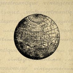 Printable high quality digital Earth globe image for making prints, iron on transfers, pillows, and other great uses. Antique artwork. Vector version available.
