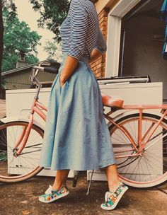 Denim skirt midi style