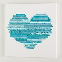 Graphic Quotes Wall Art, 24''x24'', White/Pool