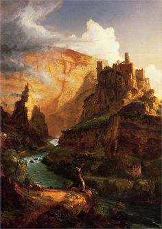 Valley of the Vaucluse    Artist: Thomas Cole  -wow. what the hell is that? is that a castle? i guess i just like the scope of this.
