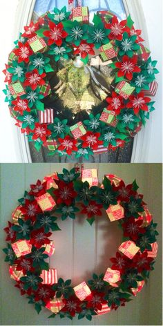 Light up christmas presents wreath with origami flowers!