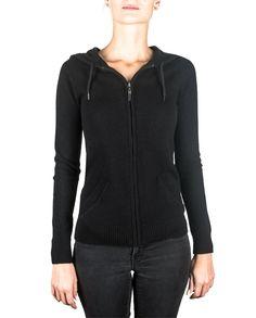 Damen Kaschmir Kapuzenpullover Hoodie schwarz front Athletic, Zip, Jackets, Fashion, Cashmere, Hoodie, Women's, Down Jackets, Moda