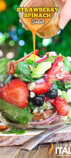 Best Ever Strawberry Spinach Salad- Spinach Salad Recipes, Summer Salad Recipes, Summer Salads, Summer Fruit, Vinaigrette, Best Salads Ever, Strawberry Spinach, Spinach Strawberry Salad Dressing, Strawberry Salads