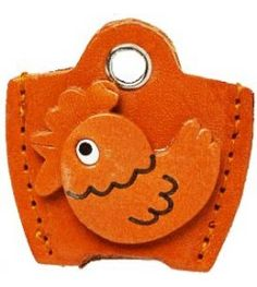 Leather Key Cover Cap Keychain Rooster