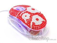 Pretty Cool Red/White Crystal USB Optical Computer Mouse for any Notebook, Laptop or Desktop PC. Decorated in Rhinestone. All You Need Is, Wireless Computer Mouse, Orange Laptop, Red Led Lights, Pc Mouse, Laptop Accessories, Pretty Cool, Red And White, Usb