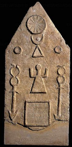 A Phoenician grave stele of the Moon-Goddess Tanit with sun & moon from Tophet in Carthage (modern Tunisia). At The London British Museum, London. Ancient Aliens, Ancient Egypt, Ancient History, Art History, Ancient Goddesses, Gods And Goddesses, Sumerian, Minoan, Art Ancien