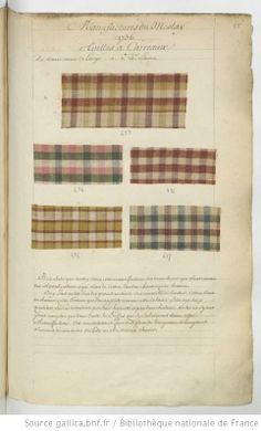 * Etoffes de Meslay // 1736 Toilles à carreaux - Echantillons d'étoffes et de rubans recueillis par le Maréchal de Richelieu