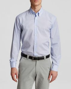 The Men's Store at Bloomingdale's Pencil Stripe Button Down Shirt - Regular Fit