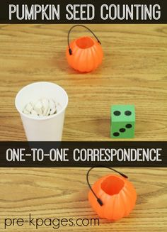 One to One Correspondence Pumpkin Seed Counting Activity for Preschool and Kindergarten. Use real pumpkin seeds for counting practice and FUN! Giant pumpkin patch with velcro pumpkins to practice counting - another idea Fall Preschool Activities, Counting Activities, Preschool Lessons, October Preschool Themes, Halloween Activities For Preschoolers, Pumpkin Seed Activities, Number Activities, Teaching Activities, Preschool Classroom