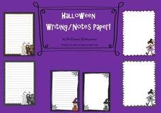 Free! 24 #Halloween Themed Writing and Notes Papers - for the children to use in projects at school or at home. Also great for teacher's notes and homework.