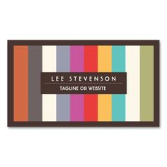 Retro Fun Colorful Multi Stripes Striped Business Card Template. Make your own business card with this great design. All you need is to add your info to this template. Click the image to try it out!