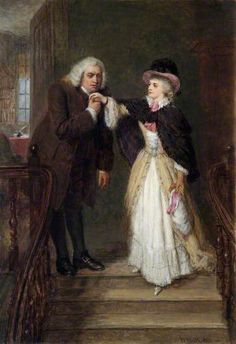 """""""Dr Johnson (1709–1784), and Mrs Siddons (1755–1831), in Bolt Court"""", 1887, by William Powell Frith (British, 1819-1909). The celebrated actress Sarah Siddons specialised in tragic roles, which helped her maintain a dignity and good reputation. She met writer, critic and wit Samuel Johnson near the end of his life and the episode was the inspiration for this painting by Frith."""