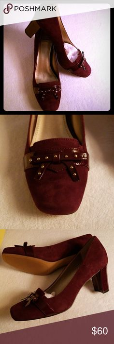 "NWOT Spectator Shoes Rich maroon heels.   3.0"" patent heels.  Patent bow with gold studded accents.   Gorgeous for the office or casual.   Size 8.5 fits true to size.   Never worn.   Non-smoker.   Comes with original box.   No trades but reasonable offers accepted. Circa Joan & David Shoes Heels"