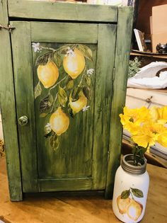IOD Lemon drop on a repainted cupboard Furniture Redo, Painted Furniture, Chalk Paint Techniques, Easter Table Decorations, Furniture Restoration, Spring Crafts, Dressers, Painting On Wood, Cupboard