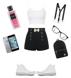 """""""Cute Nerd"""" by musiclover1217 ❤ liked on Polyvore featuring Topshop, Converse, Express, Ray-Ban, Victoria's Secret and Herschel Supply Co."""
