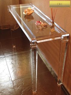 Acrylic console table lucite - CONSOLLE IN PLEXIGLAS | Consolle in plexiglas 01.mod.      LV1  | Consolle plexiglass cm.120 x 40 h.75 - telaio sp.mm.40 - gambe sez.mm.60