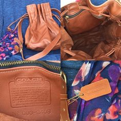 COACH Vintage Leather Bucket Drawstring Bag. Never used. Has the coach creed and serial number that began being used in the 1970's. Belonged to my incredibly fashionable Great Aunt. We have been lovingly holding onto it for years. Thinking it's from the 1980's. Large bag. One zippered pocket inside. Naturally tanned cowhide. Drawstrings on each side under the attachment of the straps. Adjustable strap. Sits at side. Coach Bags
