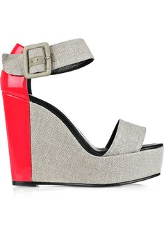 285c048a333 Pierre Hardy - Canvas and patent-leather wedge sandals. Grey ShoesOn ...