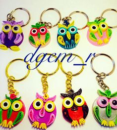 Quilled keychains, quilled owls