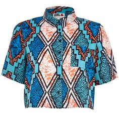 I'm shopping Blue Chelsea Girl Aztec print shirt in the River Island iPhone app.