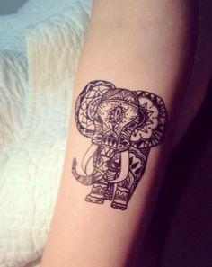 Custom Elephant Tattoo On Arm Sleeve #tattoo #elephanttattoo #Design #Ink