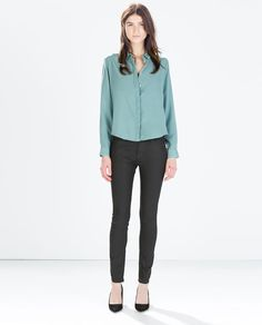 ZARA - DAMEN - DENIMHOSE COATED SLIM FIT