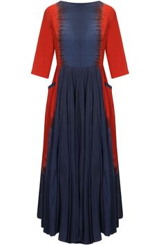 Navy and red dip dyed dress available only at Pernia'S Pop Up Shop.