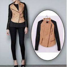 USD31.99New Style Casual Turndown Collar Long Sleeve zipper Black PU Short Jacket