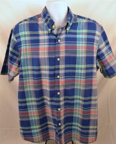 Saddlebred Authentic Madras Men's Size Large Short Sleeve 100% Cotton Shirt